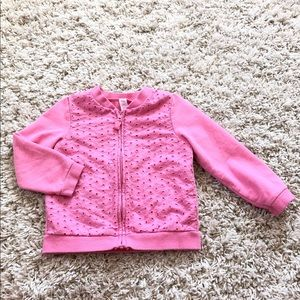Pink Cherokee eyelet and knit jacket size 3T